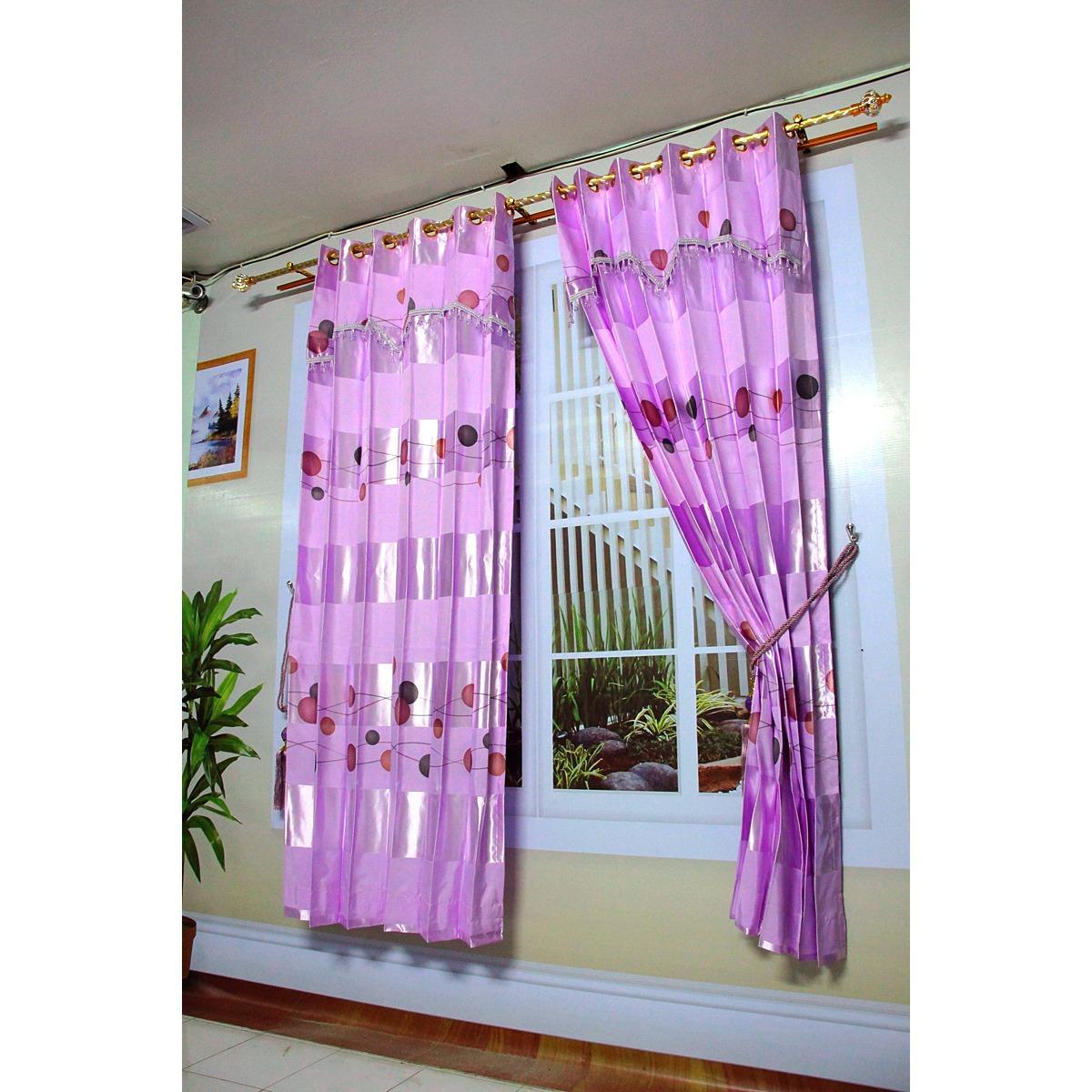 Korden gorden murah untuk jendela bahan black out dengan poni hias dan manik warna ungu [Elyna ungu]