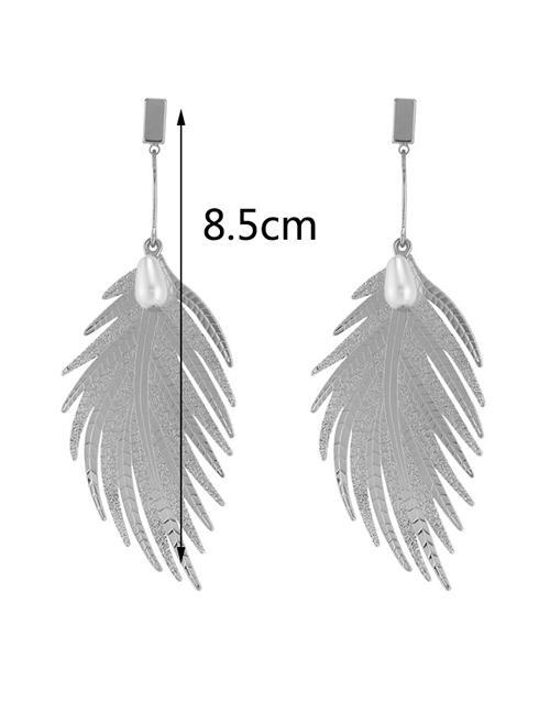 Detail Gambar LRC Anting Tusuk Fashion Feather Shape Design Earrings Terbaru