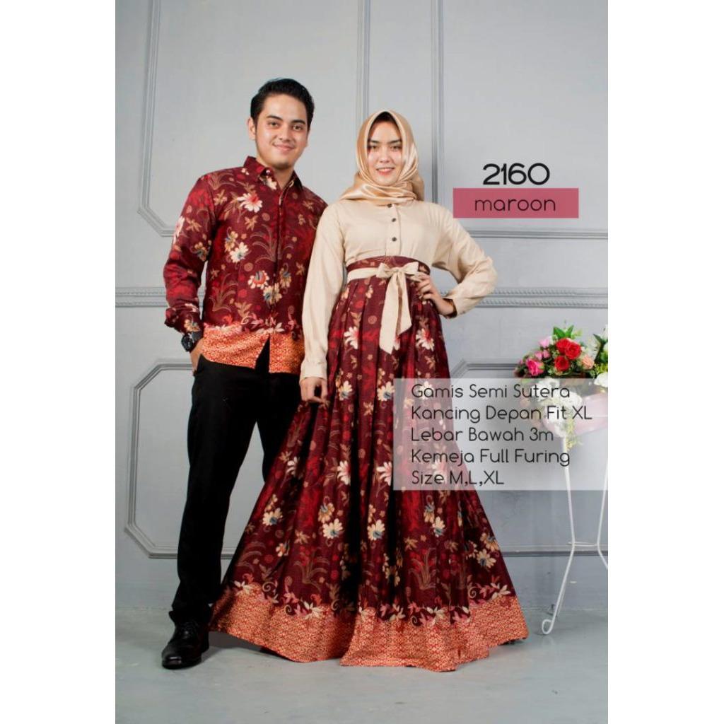 Riuisme - Couple Gamis Semi Sutra / Baju Kondangan / Baju Batik / Baju Gamis