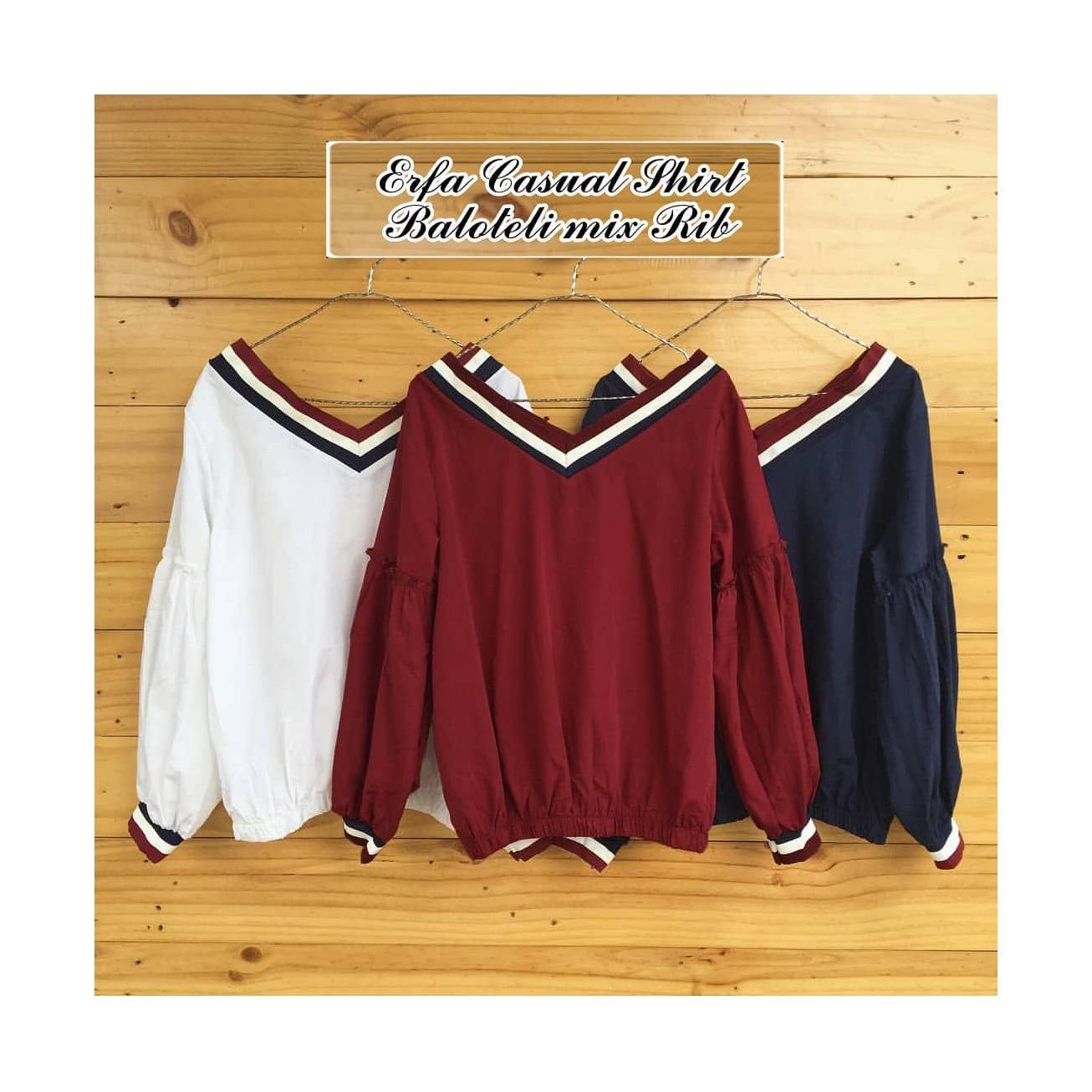 Baju Original Erfa Casual Shirt Pakaian Wanita Muslim Modern Atasan Cewek Muslimah Blouse Top Simple Trend 2018