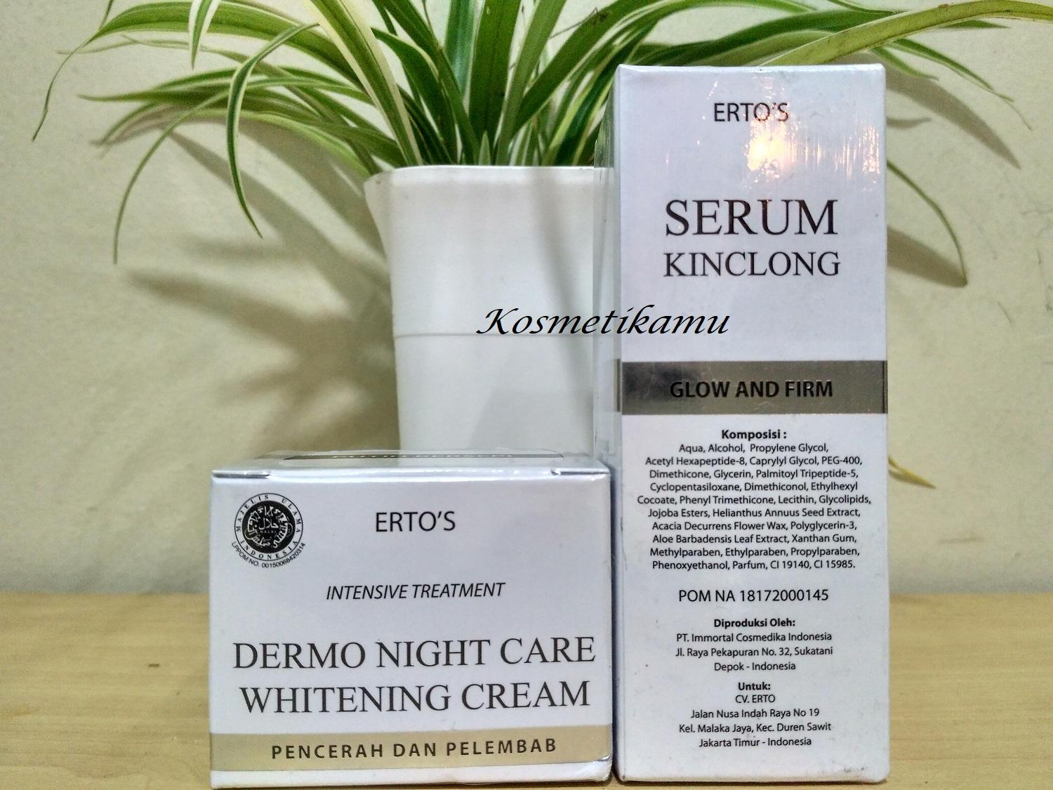 Kelebihan Ertos Paket Night Cream Serum Kinclong Original Terkini