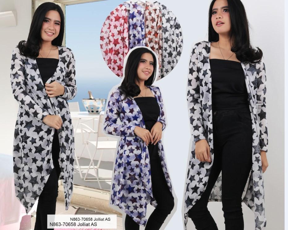Oma Holley Fashion Bintang Cardigan Annabeth 4 Warna-Size L