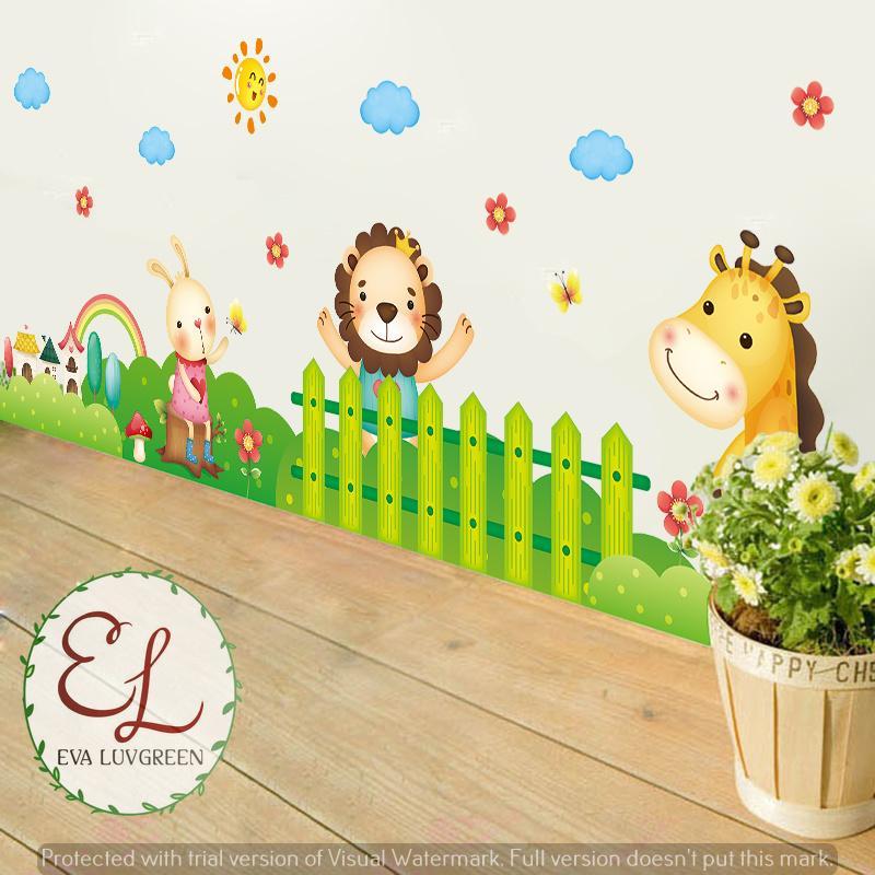 Detail Gambar Eva Luvgreen Wallsticker Pagar Taman Animal Anak Ukuran 50x70cm/ Stiker Dinding/ Stiker