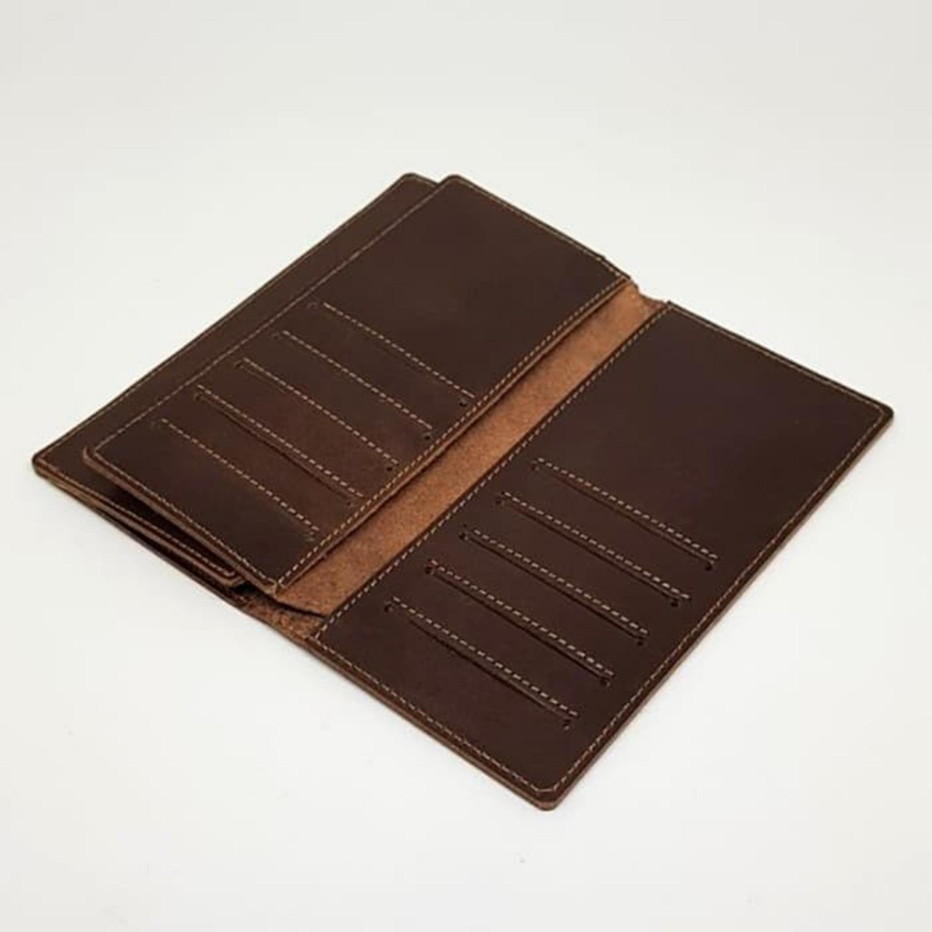 Dompet Pria 100% Kulit Sapi Asli Model Panjang - Brown - 2