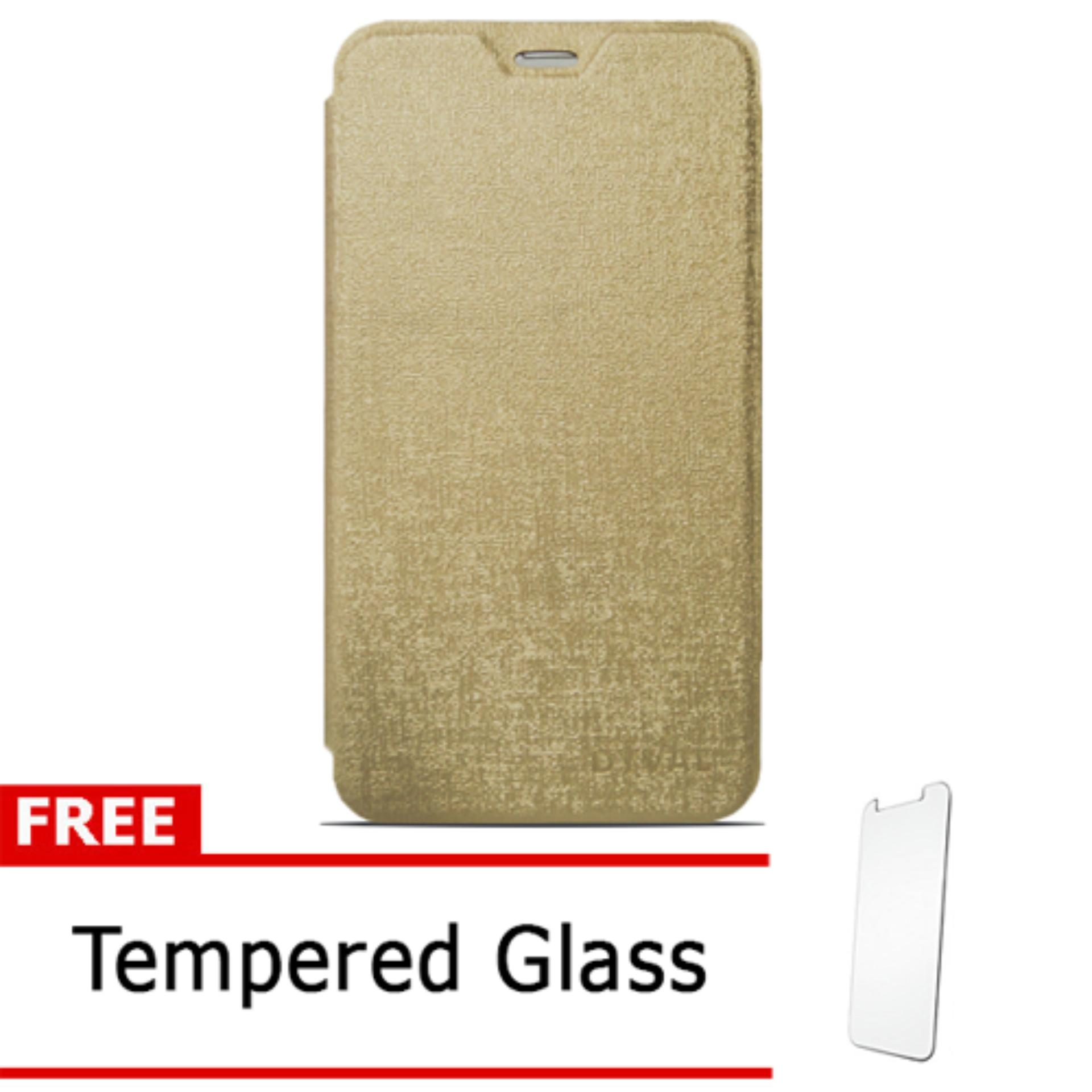 Case Dyval Flipcover Advan vandroid  i5C plus gold + free tempered glass