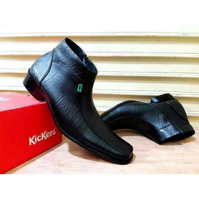 Kickers - Sepatu PDH pria sepatu Pantofel Formal tinggi ritsleting kulit warna Hitam
