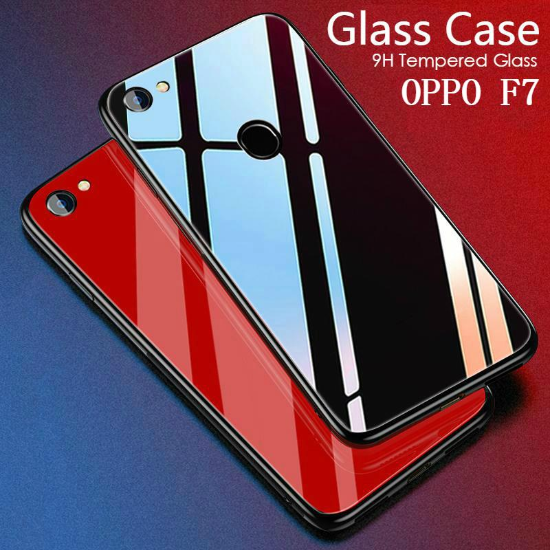 For Oppo F7 Glass Case HD Coverage Full Body Cover Tempered Glass Black cases For Oppo