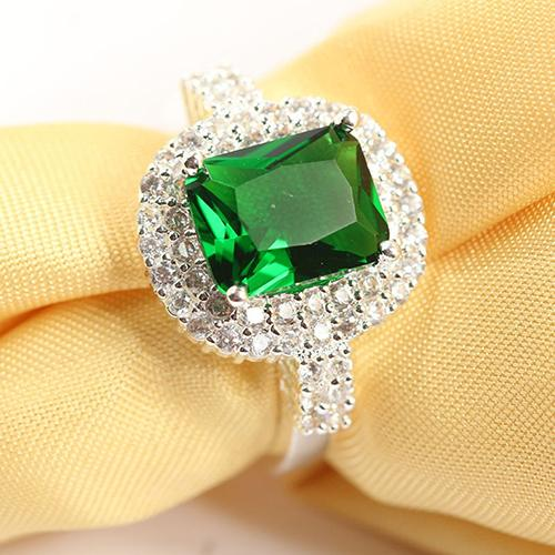 Phoenix B2C Wanita hijau Zircon perak berlapis cincin Fashion pernikahan Bague perhiasan hadiah - 2