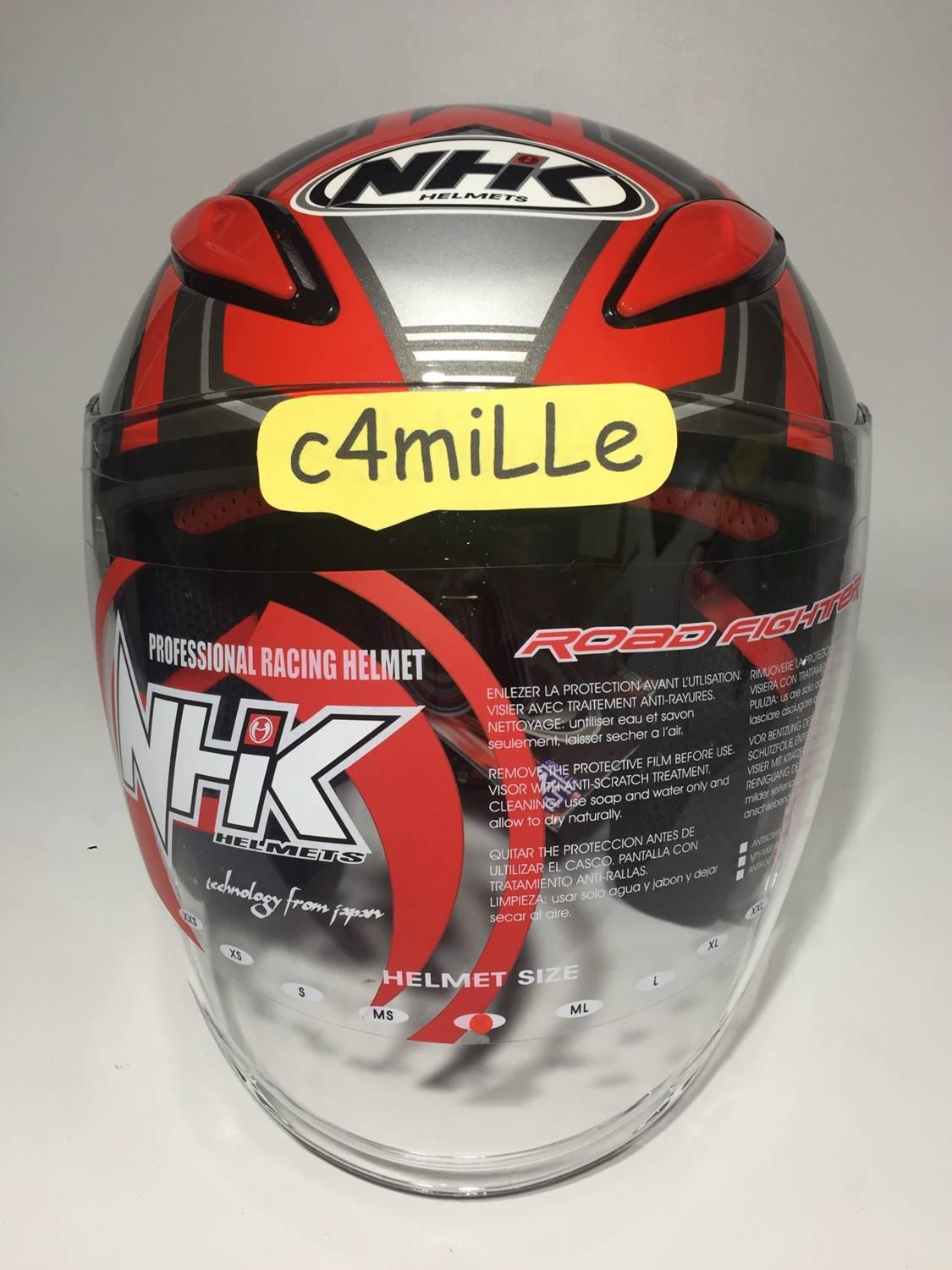 HELM NHK R1 GIGA RED SILVER DOUBLE VISOR HALF FACE