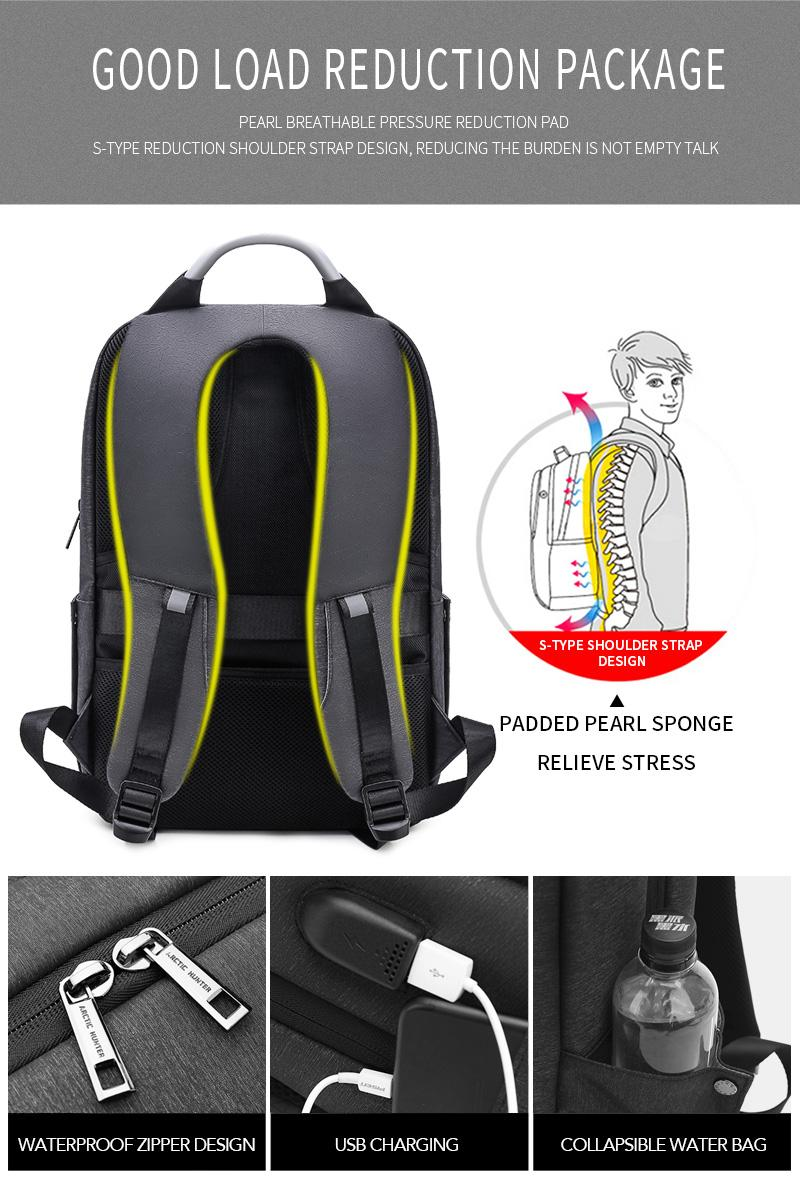 ... ARCTIC HUNTER USB Charging Backpack Fit up to 15.6 inch Laptop Bag - 4 ...