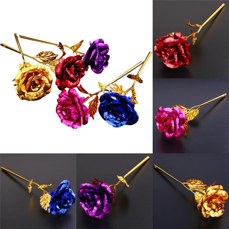 ... 24K-Gold Disepuh Bunga Mawar Hadiah Hari Valentine Ulang Tahun Romantis 5 Warna-Intl ...