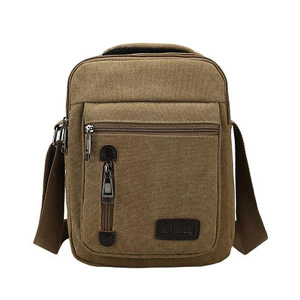 Beli Tas Pria Men Vintage Canvas Multifunction Travel Satchel Messenger Shoulder Bag Khaki Kredit Tiongkok