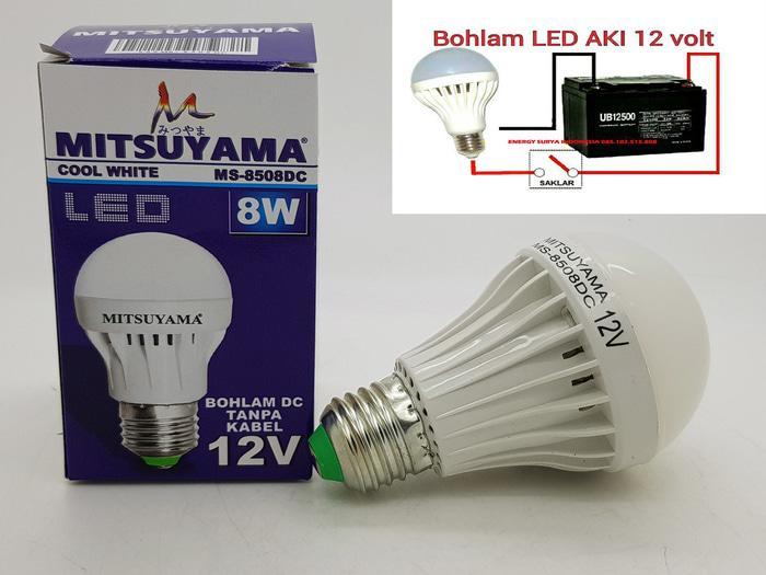 Merk MITSUYAMA 8W E27 LAMPU LED 12V DC LED ( LAMPU SOLAR CELL )
