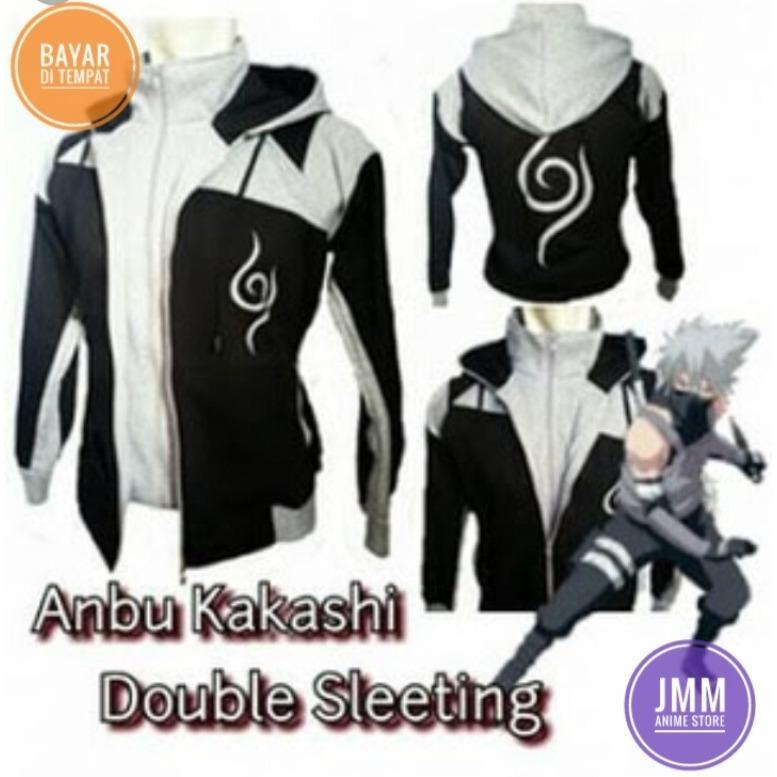 Obral Jaket Naruto Anbu Double Zipper Grey Hoodie Best Seller Murah