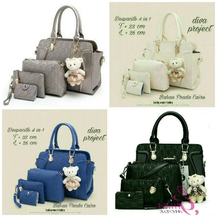 Detail Gambar Hand Bag Prada 4 in 1/tas paket wanita/tas wanita model terbaru/tas wanita murah/ tas kerja wanita Terbaru