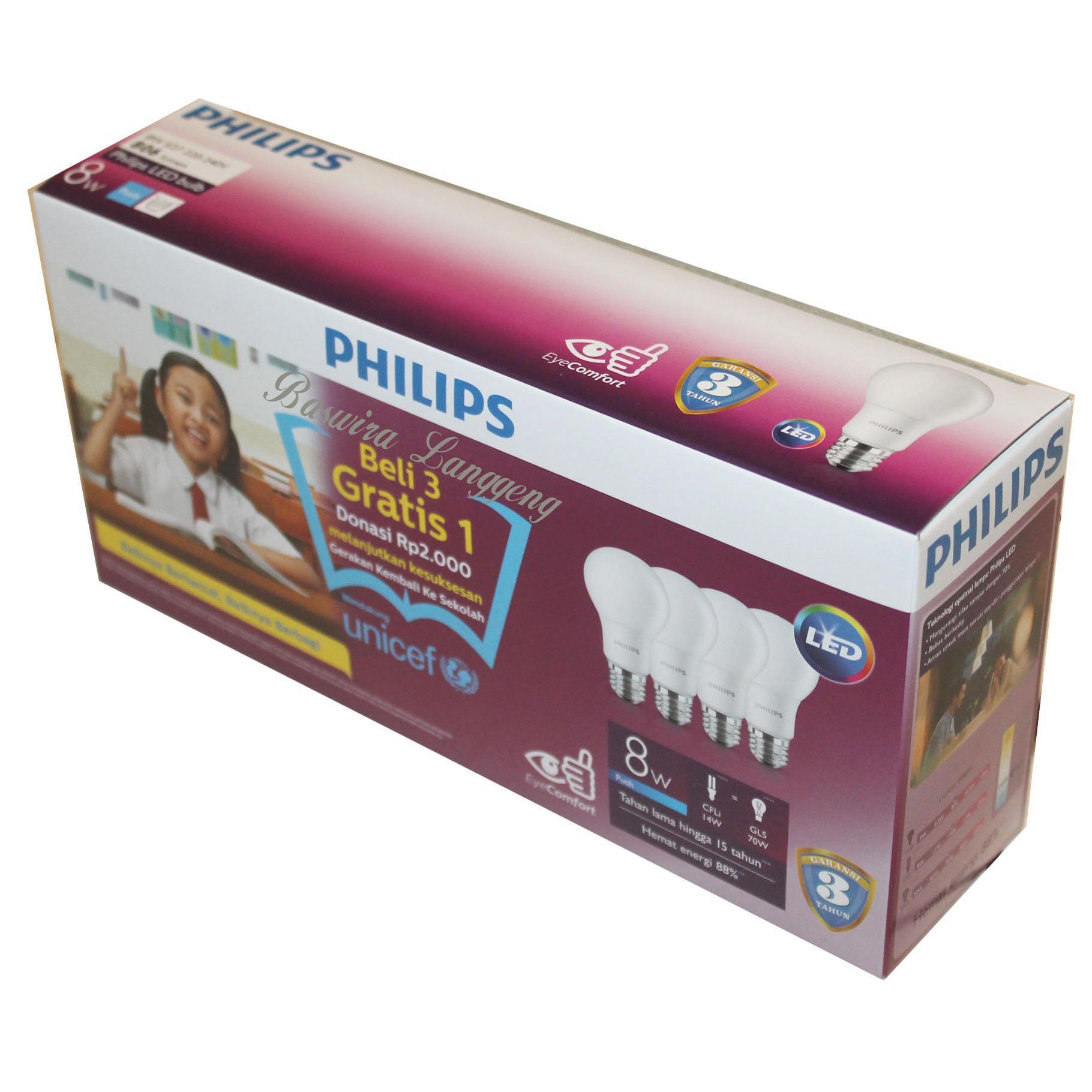 Cek Harga Baru Bundling Philips Lampu Led Bulb 8 Watt Unicef Beli 3 Ledbulb 70w E27 3000k 230v Kuning 8w Paket Gratis 1 Putih 4