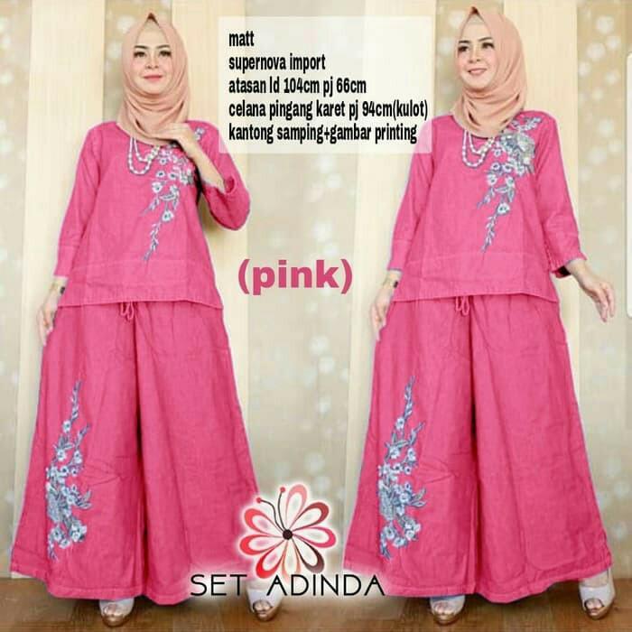 Baju Kulot Setelan Muslim Wanita/Pakaian Set Kulot Dinda Pink Modern