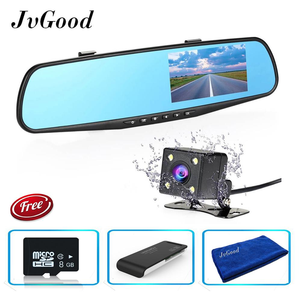 Jvgood Dual Lens Dash Cam Rear View Mirror Car Camera 4 3 Inch Tft Lcd Screen 1080P Driving Video Recorder With Back Up Camera G Sensor Loop Recording Parking Mode Motion Detection Night Vision 8Gb Tf Card Included Intl Promo Beli 1 Gratis 1