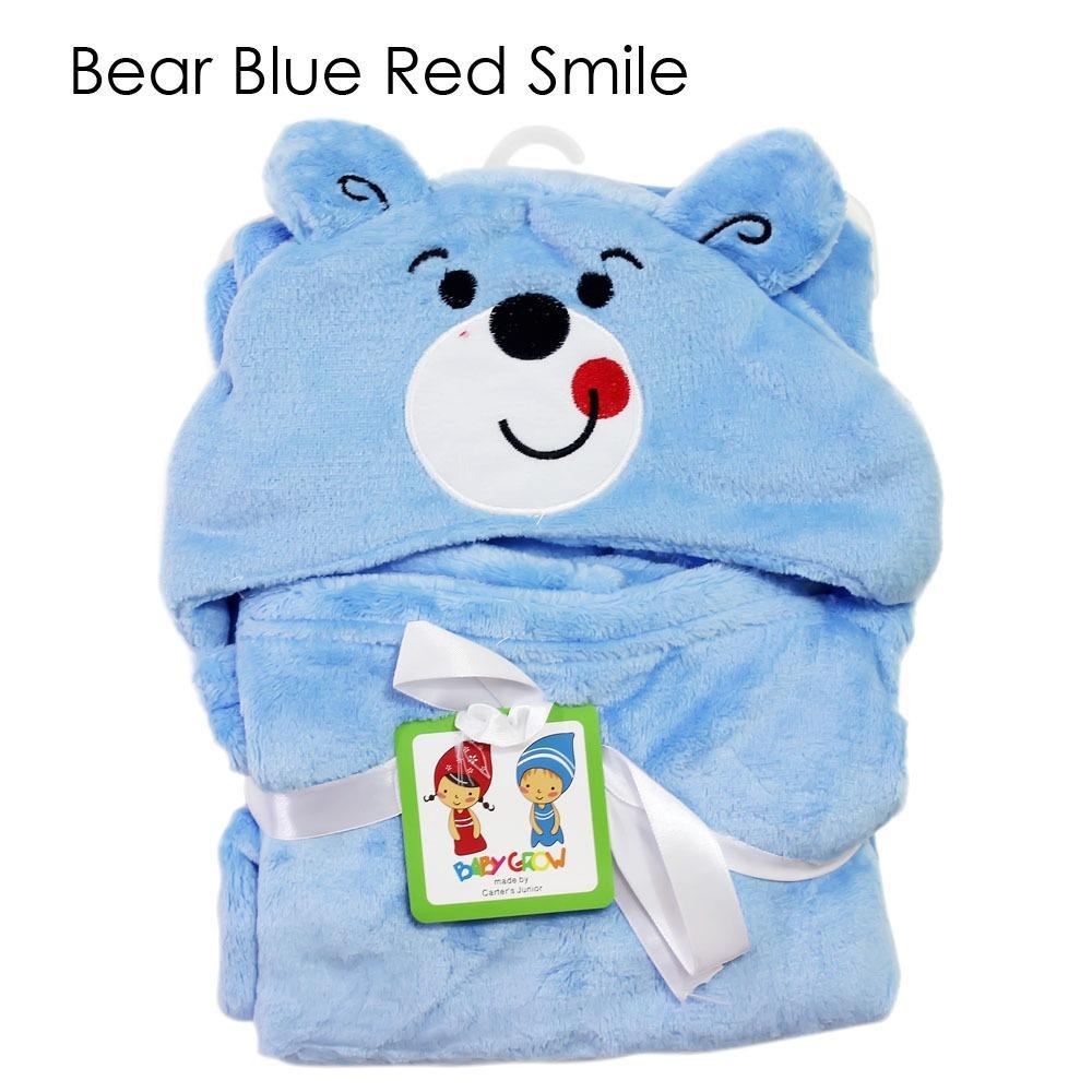 Beli Selimut Topi Double Fleece Selimut Hoodie Bulu Bayi 3D Hoodie Blanket Tudung Bear Blue Red Smile Murah Di Dki Jakarta
