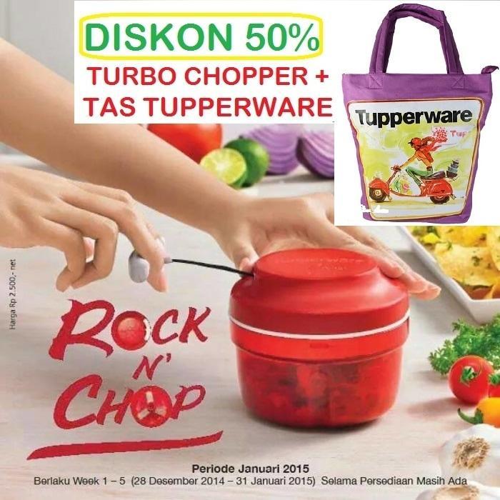 Tupperware Tas + Turbo Chopper Alat Cacah Makanan Kacang Buah Sayur