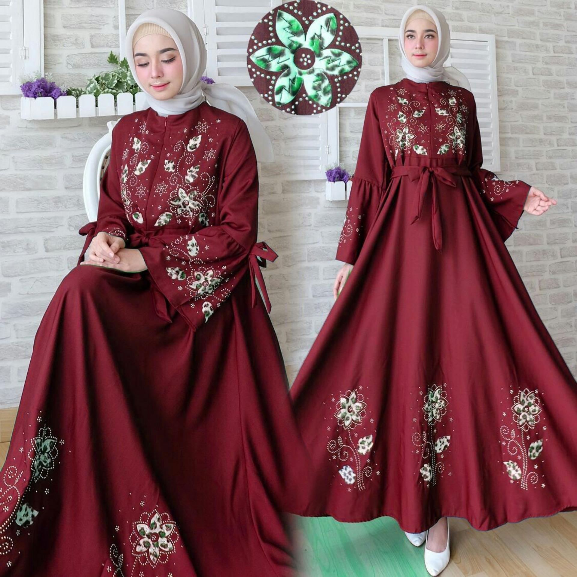 Toko Snowshop Gamis Syari Flower Maroon Terlengkap Di Dki Jakarta