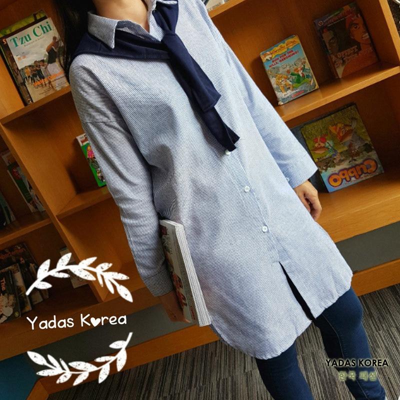 Review Yadas Korea Makeda Kemeja Tunik Dengan Syal 0013 Blue Yadas Korea