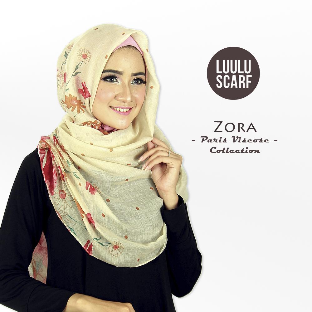 Luulu Scarf - ZORA - Kerudung Pashmina Motif Import Viscose