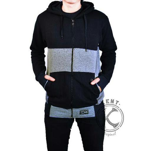 Jaket Zipper Reglan Black Darkgrey
