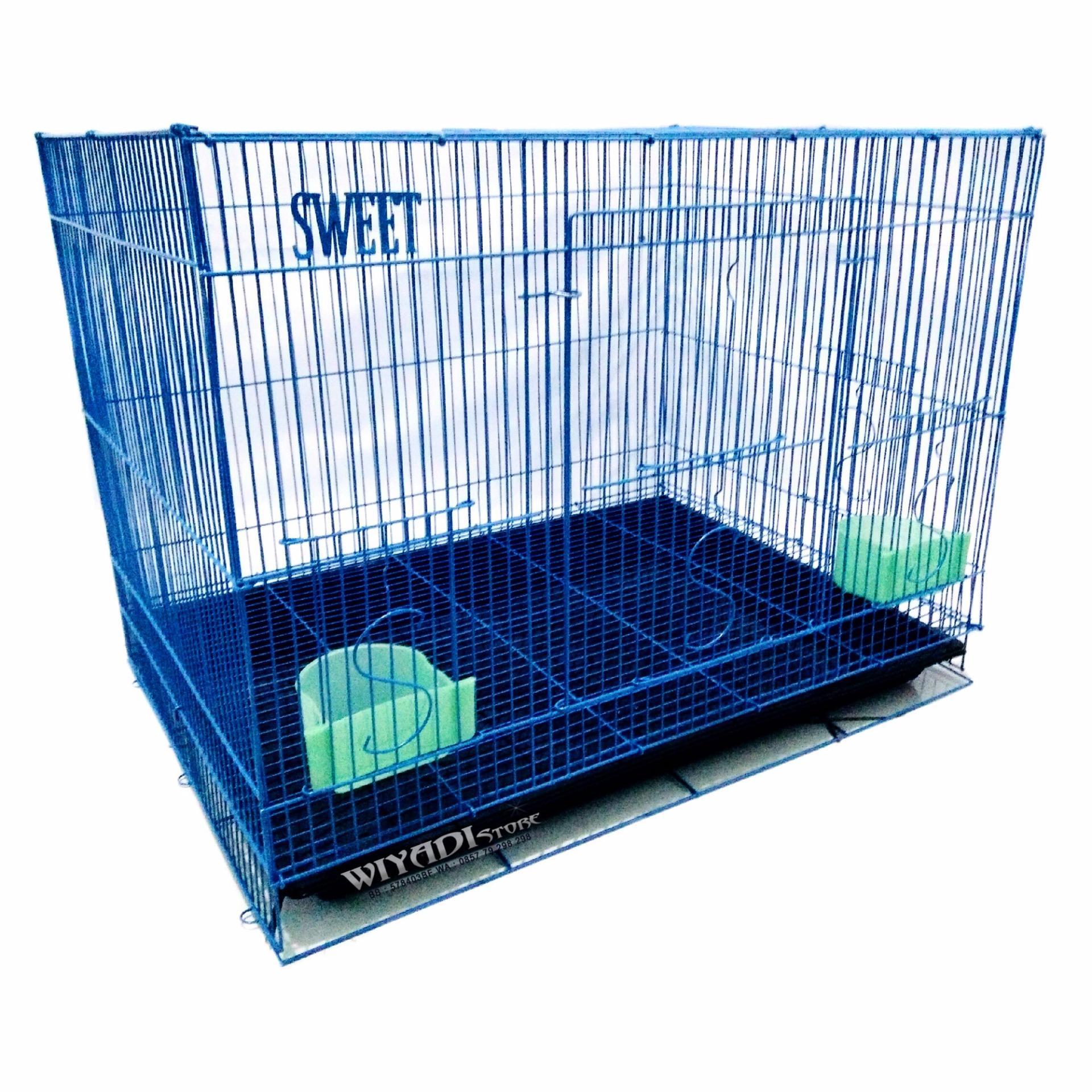 Wiyadistore K12 Kandang Kucing Besi Lipat Besar 60P Biru Terbaru