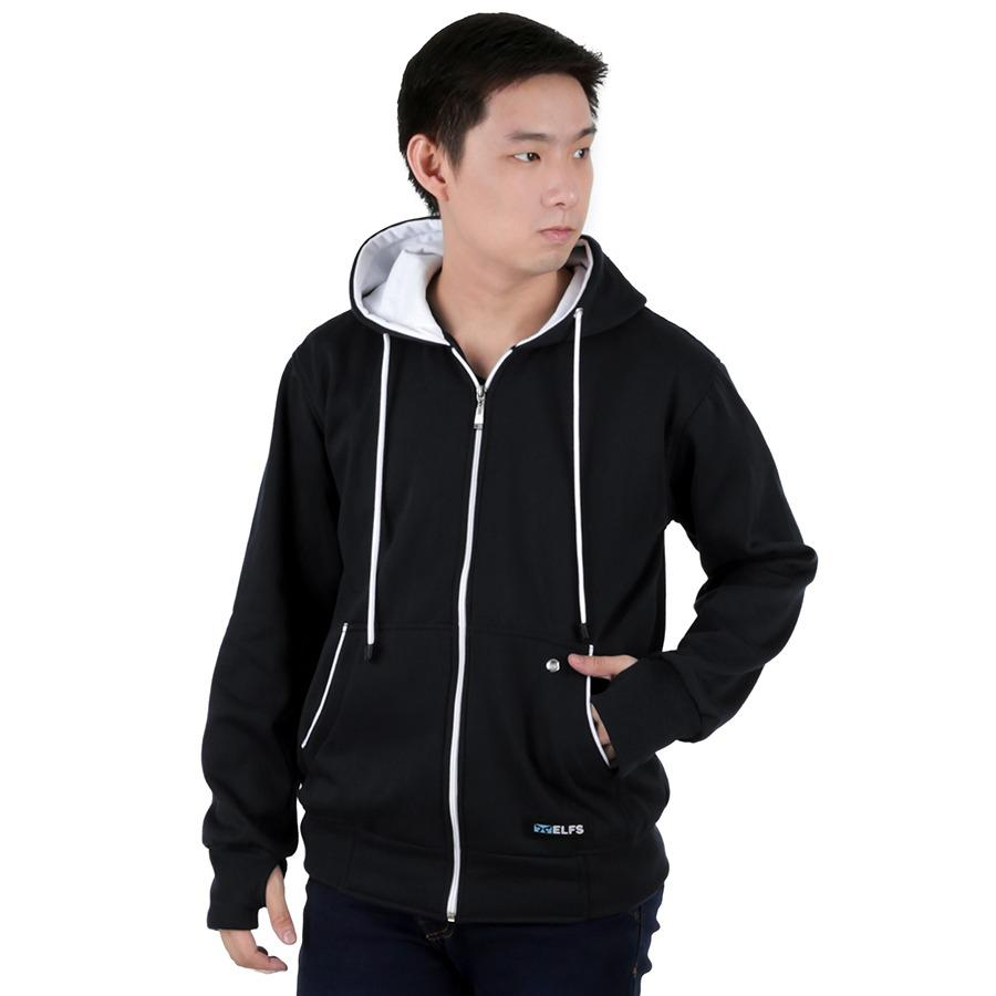 Harga Elfs Shop Jaket Sweater Hoodie List Pria Fleece Hitam Yang Murah