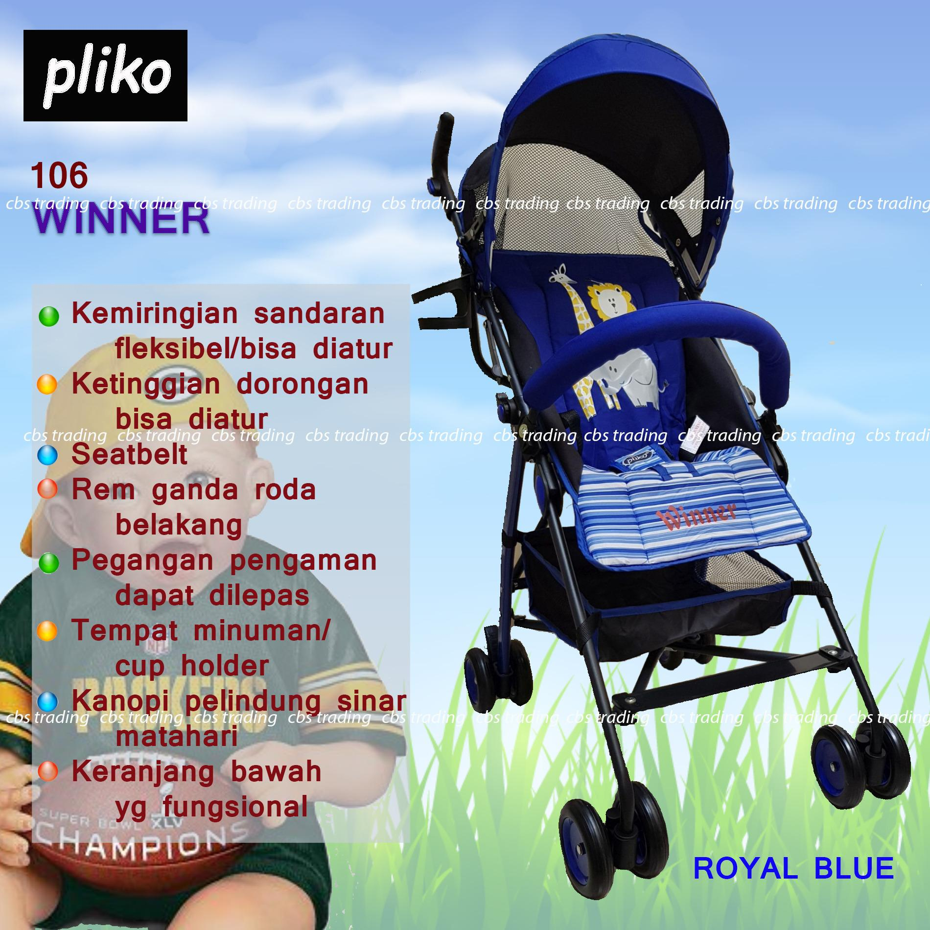 Pliko Stroller New Buggy Winner S-106 - Kereta Dorong Bayi - Royal Blue
