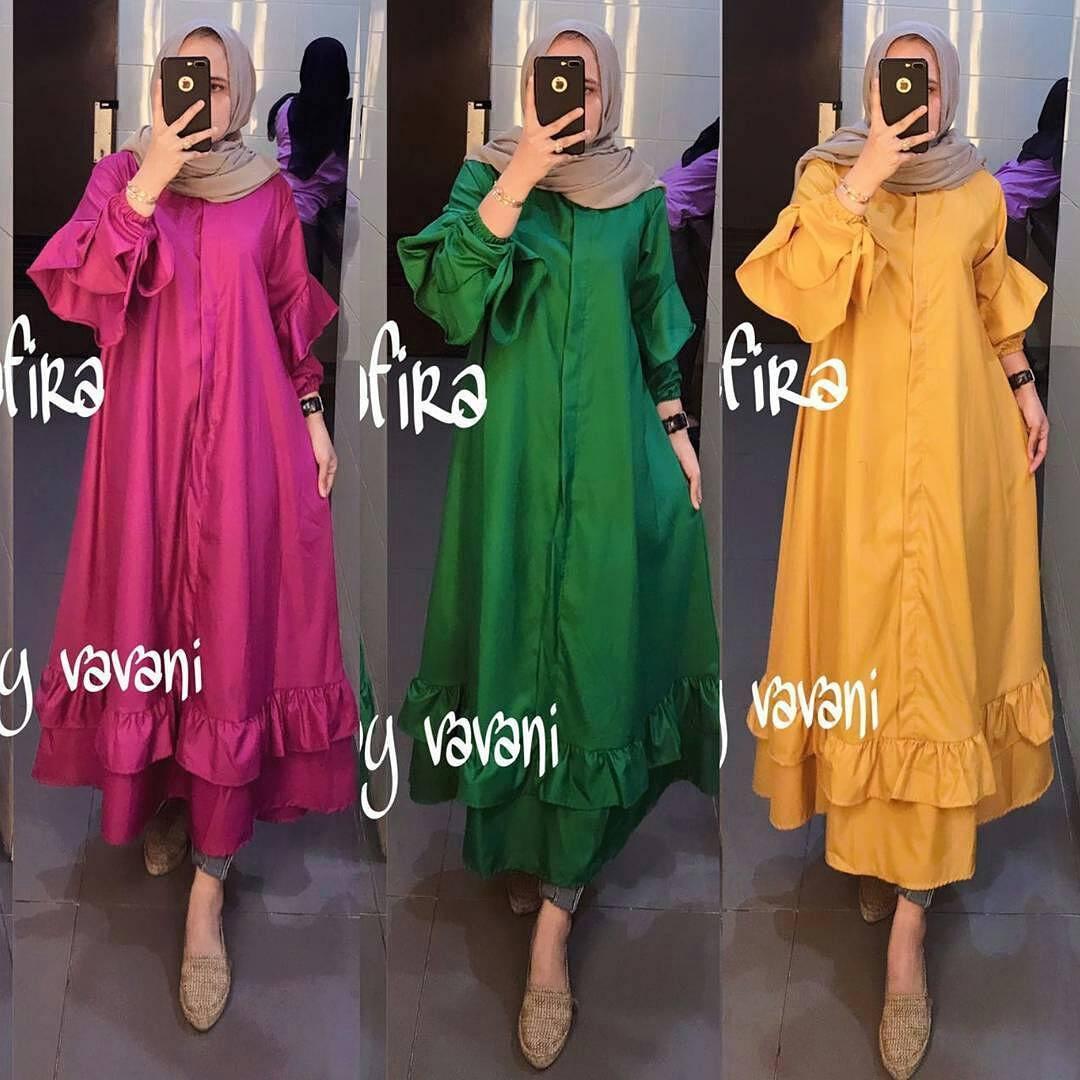 Tunik Shafira Tunic Balotelly Baju Atasan Wanita Muslim Panjang Pakaian Kerja Santai Casual