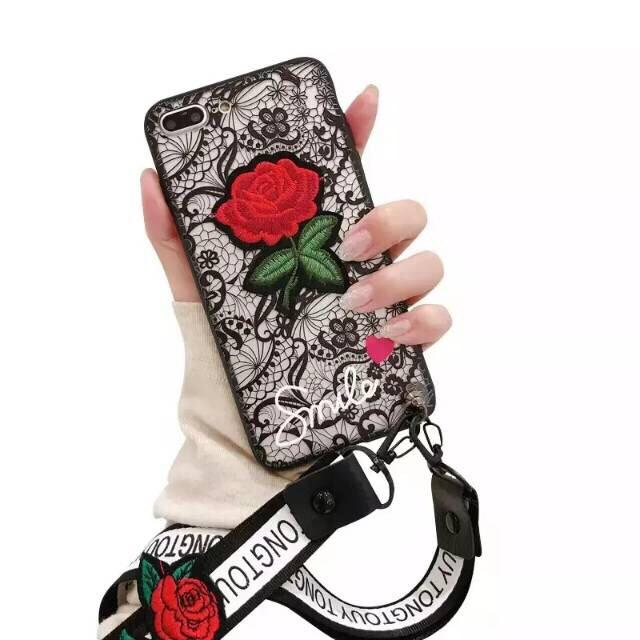 Softcase Fashion Phone Case Flower Black Cute New Oppo F7