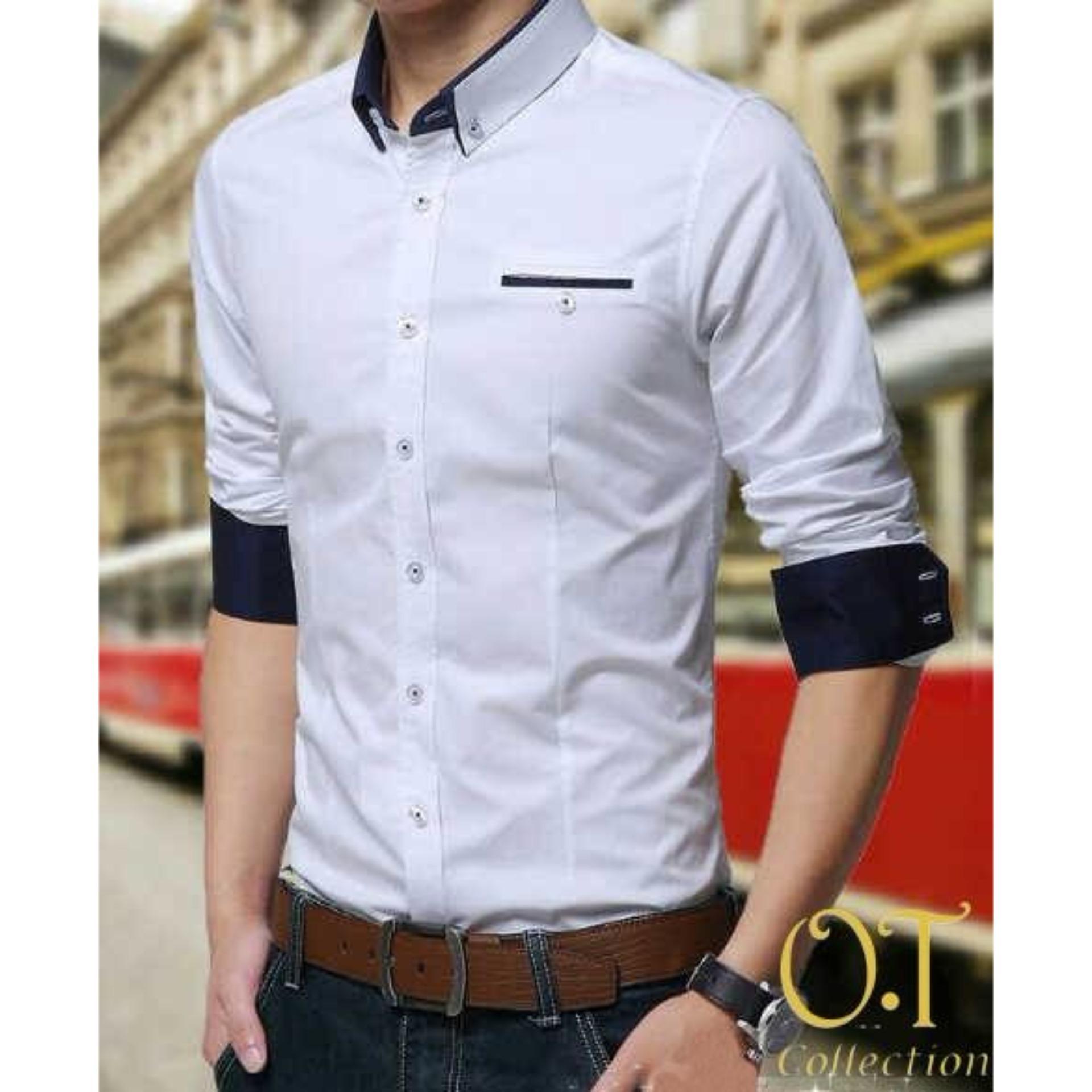 Fitur Pakaian Baju Kemeja Panjang Pria Model Baru Formal Dan Casual Baruuu Slimfit Premium Slim Fit Warna Putih Kombi Abu