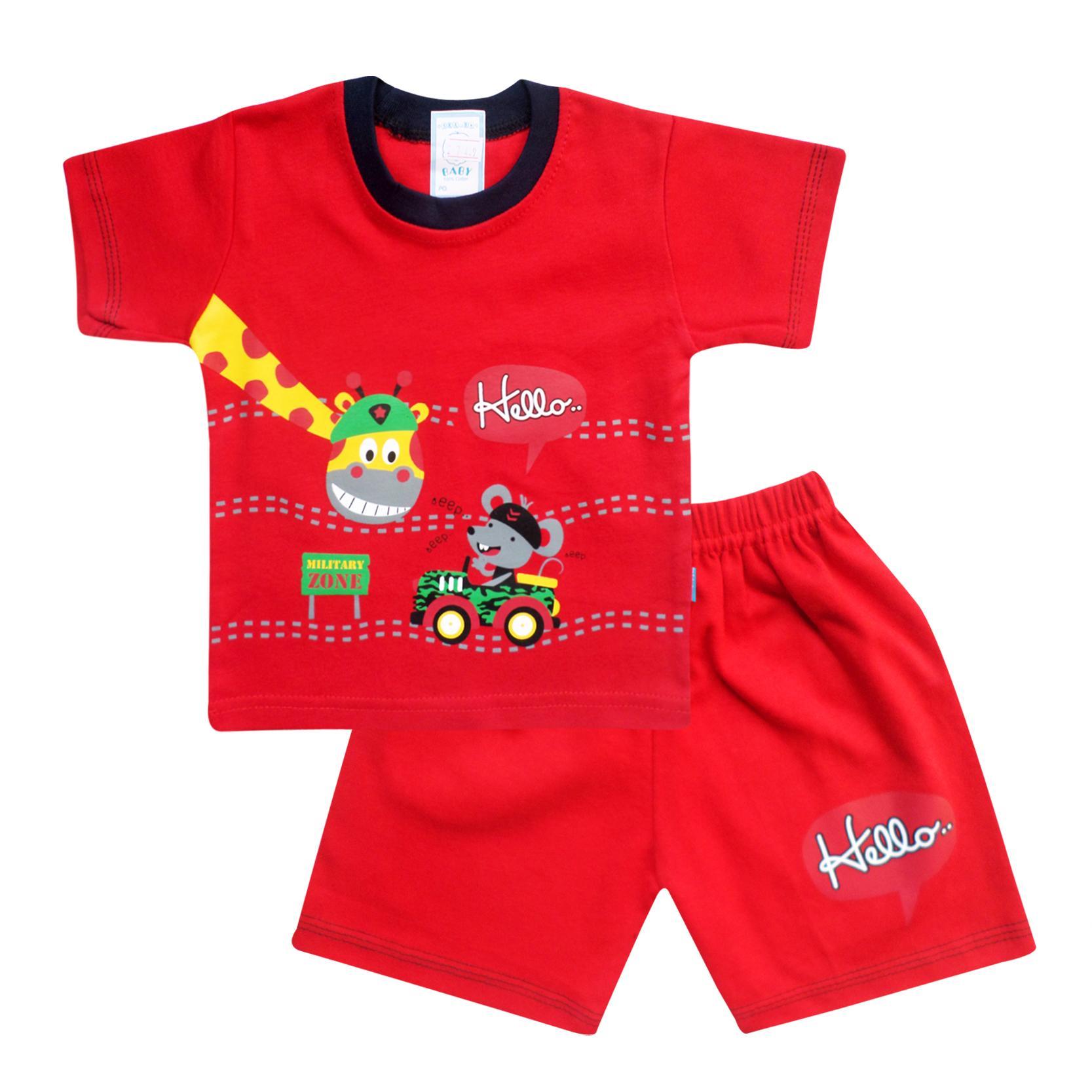 SKABe Baby Warna Tua Baju Anak Laki Laki Tangan Pendek Setelan Kaos 2749