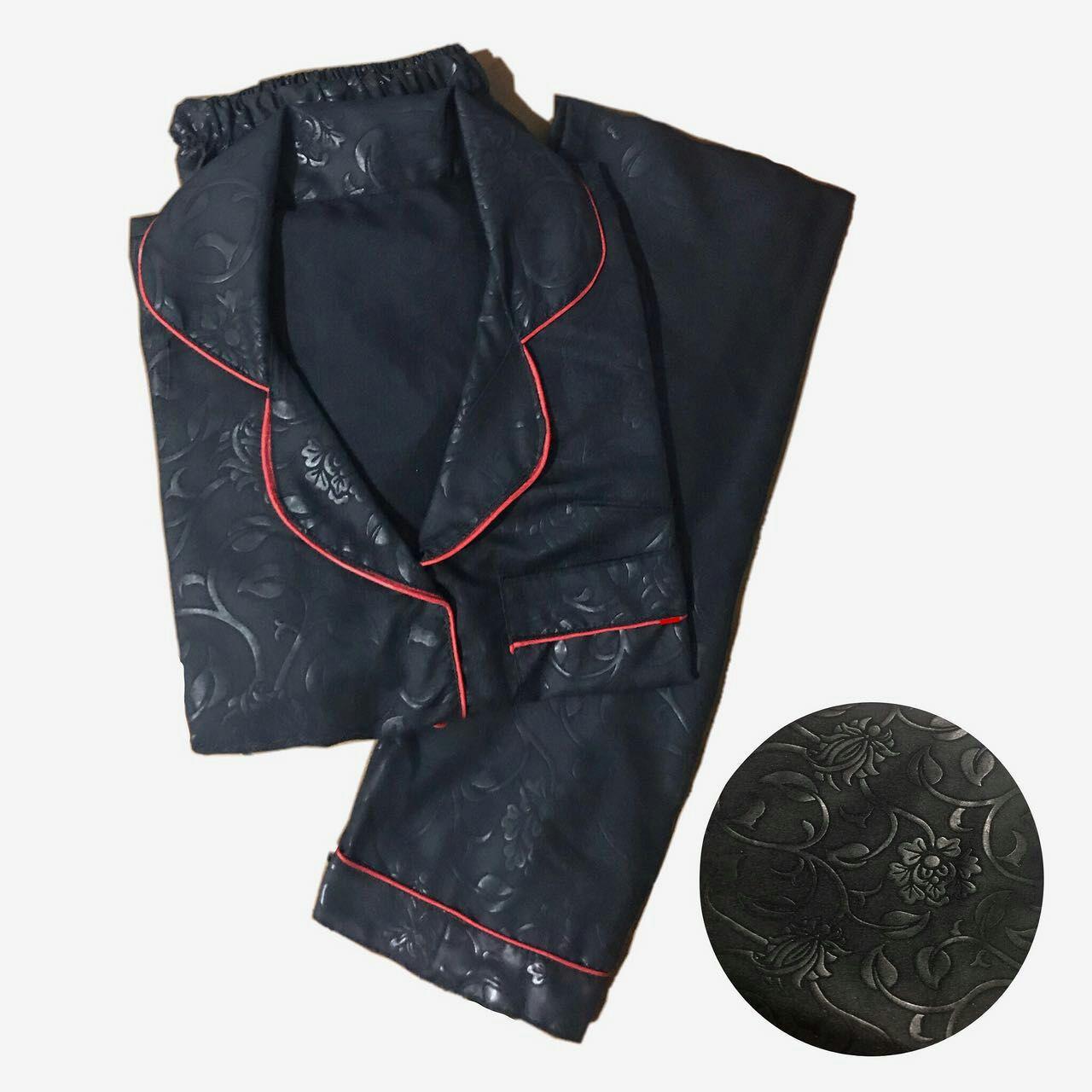 lunashop fashion wanita model pakaian tidur embos warna hitam/celana panjang/bisa dipakai pria maupun wanita