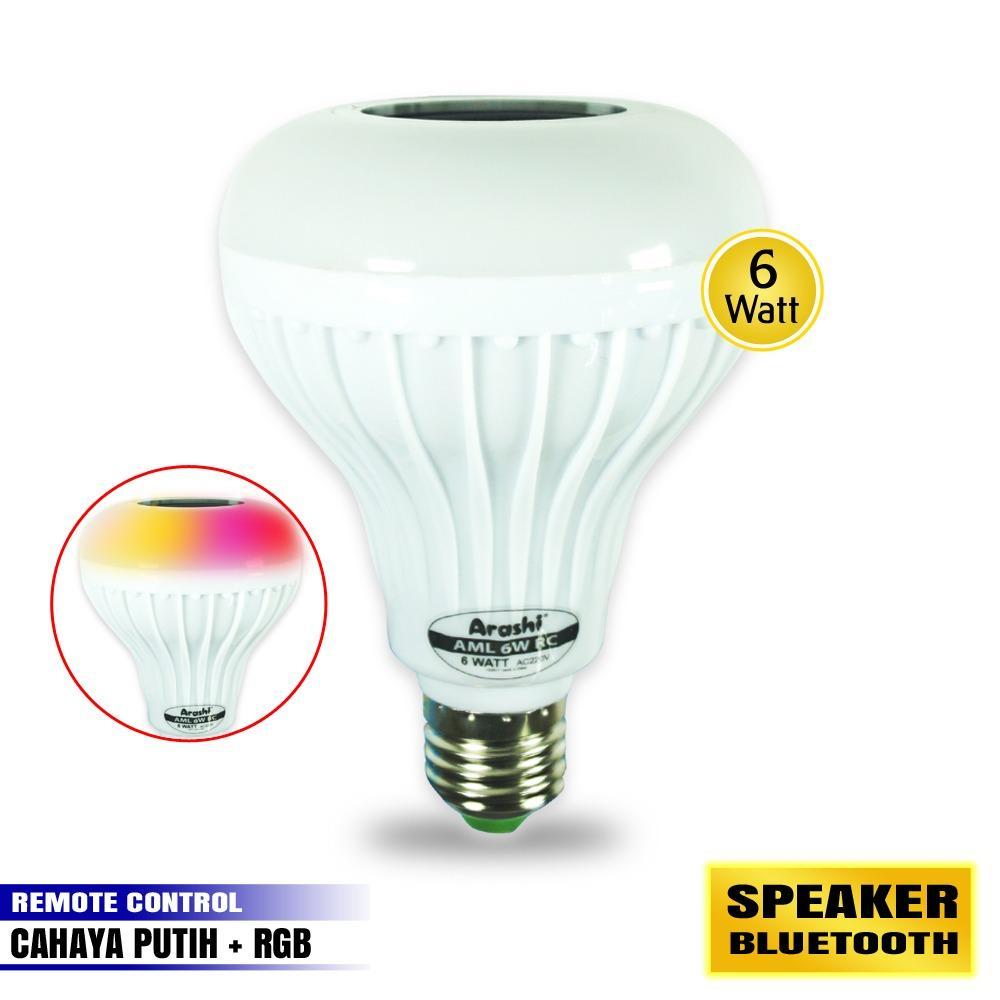 Arashi Bohlam Emergency Music Lamp 6 Watt AML 6W RC + Speaker Bluetooth Cool Daylight / RGB Remote Control Lampu Emergency