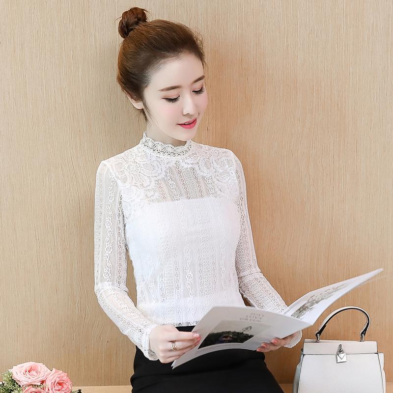 Busana musim gugur Gaya Korea pakian Atasan Wanita Lengan panjang Elegan Terlihat Langsing kemeja kecil renda