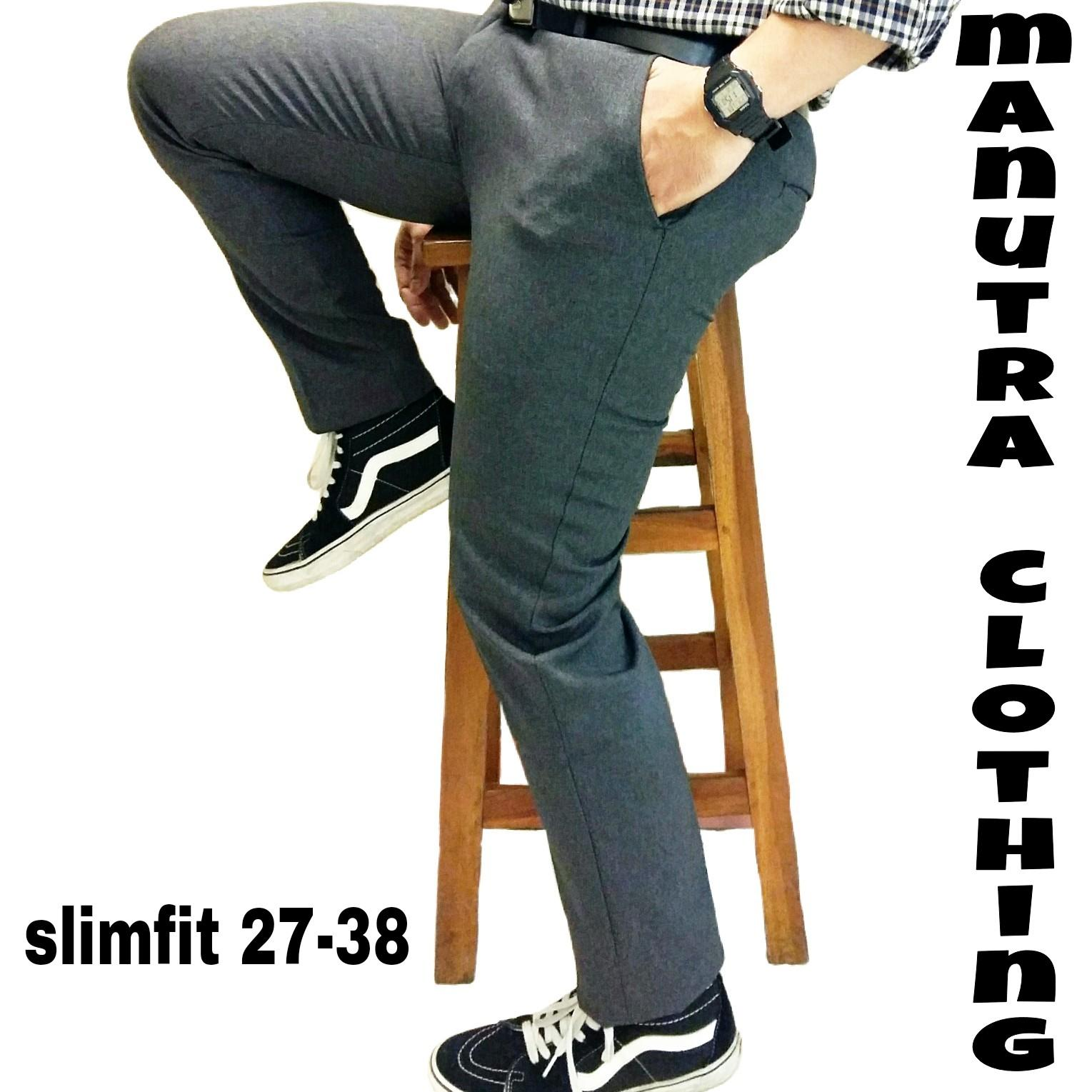 Celana bahan slimfit celana kerja kantor slimfit celana slimfitwol abu tua 27 38
