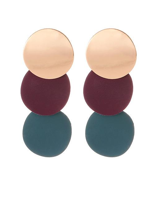 LRC Anting Tusuk Fashion Claret Red+green Color Matching Design Long Earrings