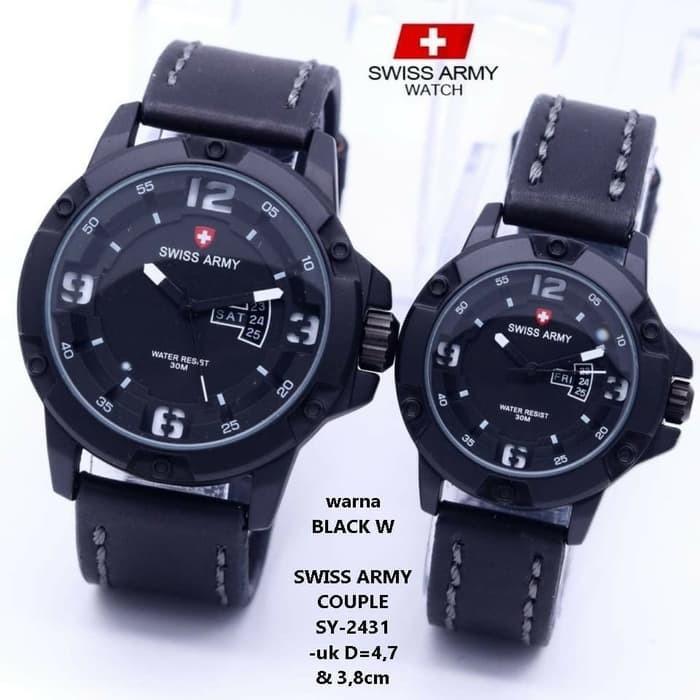 Swiss Army -SA-3515 - Jam Tangan Couple - Strap Kulit -Tangggal Hari