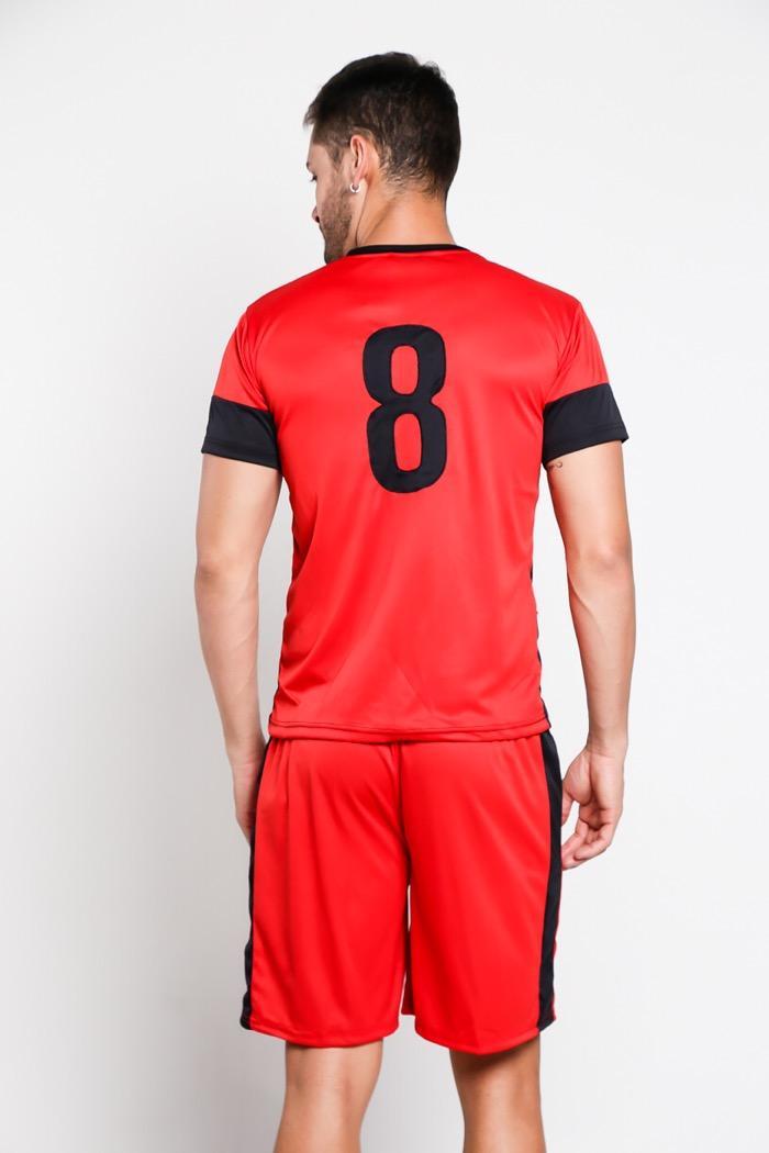 Detail Gambar Zone Sport - Setelan Baju Kaos Jersey Tim Bola Futsal Sepakbola Voli BPN.16 Red/Black Terbaru