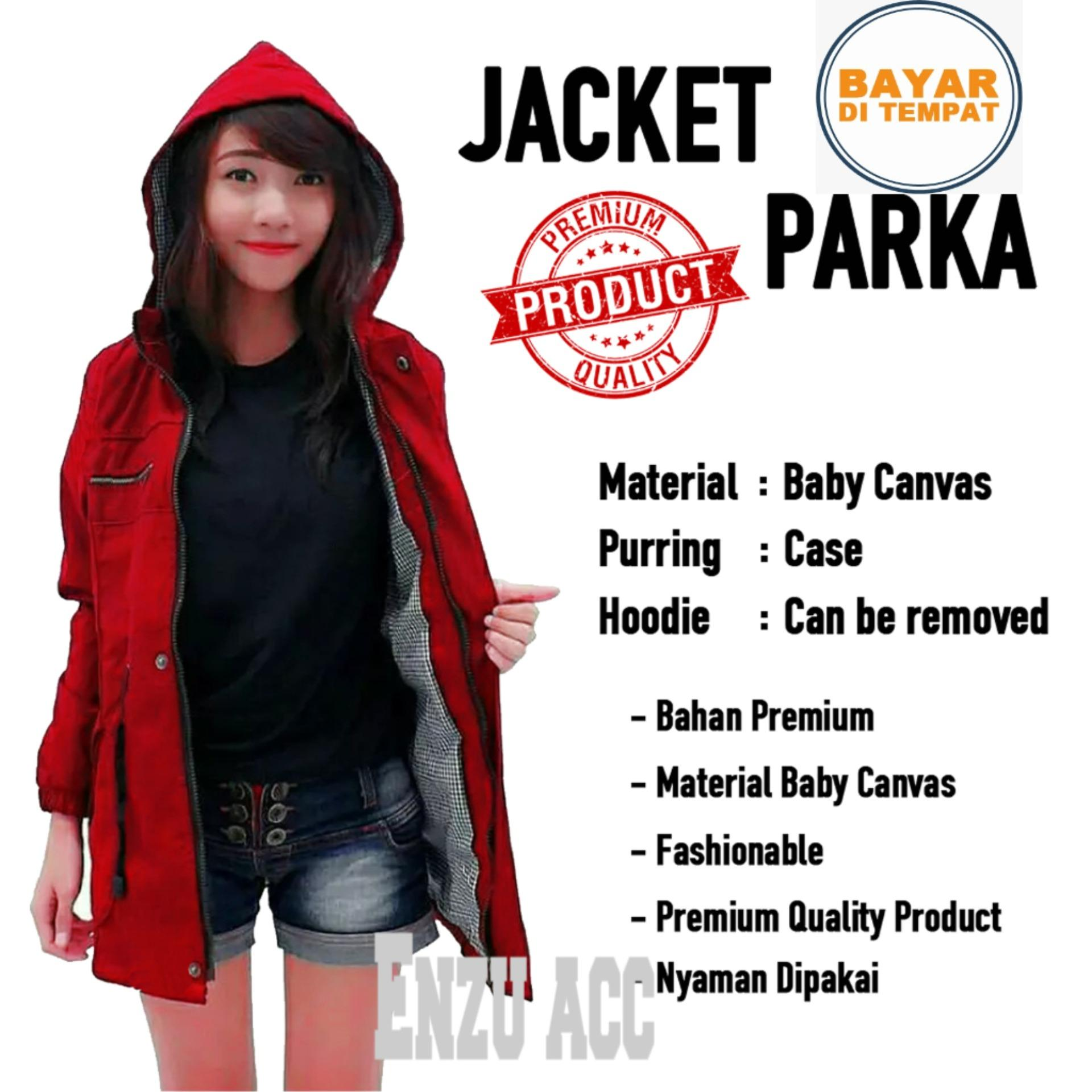 Enzu Acc Jaket Parka Wanita Canvas Baby Premium Bolak Balik Maroon Di Dki Jakarta