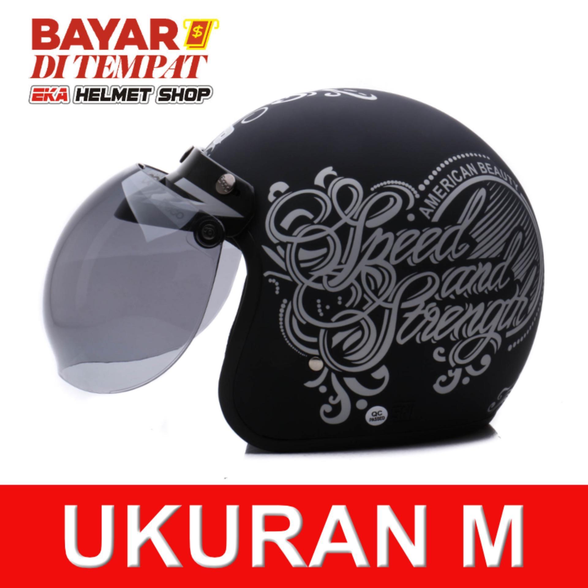 Jual Wto Helmet Retro Bogo Strength Hitam Doff Perak Wto Helmet Grosir