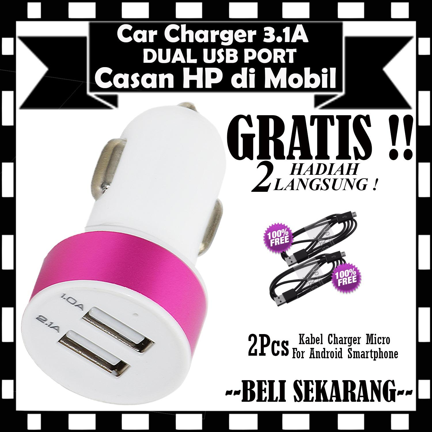 Car Charger Dual USB 3.1 Ampere 2 USB Port Casan HP di Mobil - GRATIS 2Pcs Kabel Charger Casan Android