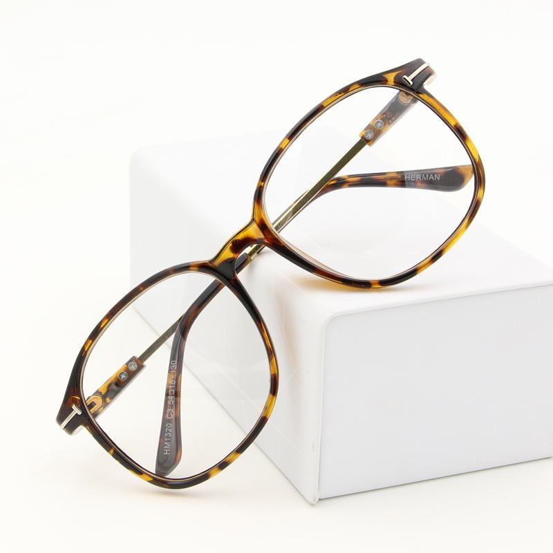 Motif macan tutul bingkai kacamata wanita Gaya Korea pasang Retro wajah  bulat besar bingkai besar   6422fcaccc