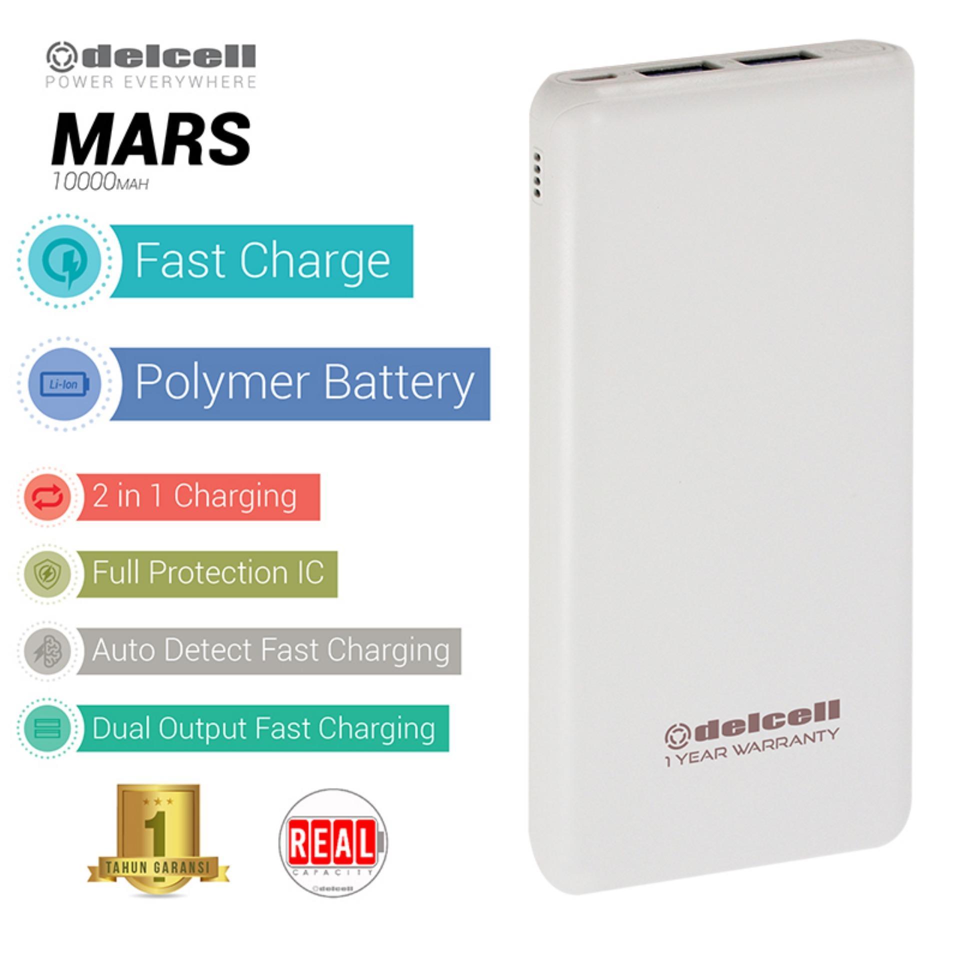 Delcell 10000mAh Powerbank MARS Real Capacity Fast Charging Slim Powerbank Polymer Battery Dual Output Garansi Resmi