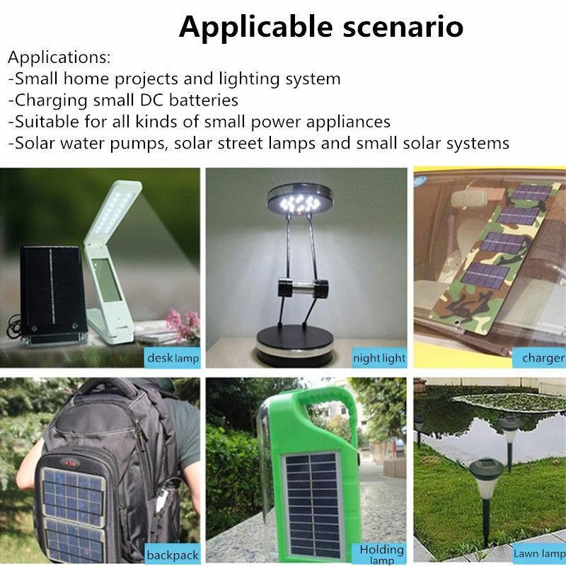 ... 6W 12V DIY Solar Power Charger Panel untuk Cell Lampu Darurat Lampu Berkemah Di Luar Ruangan ...