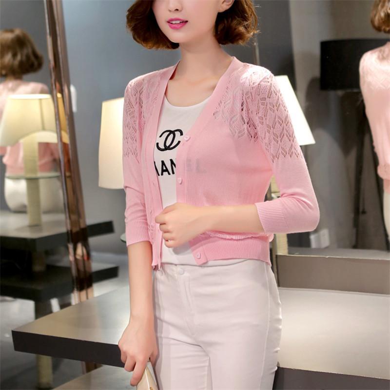 Kerah V pakaian luar berongga Kardigan Tipis Kemeja rajut Jaket wanita model pendek netral Selendang pakaian
