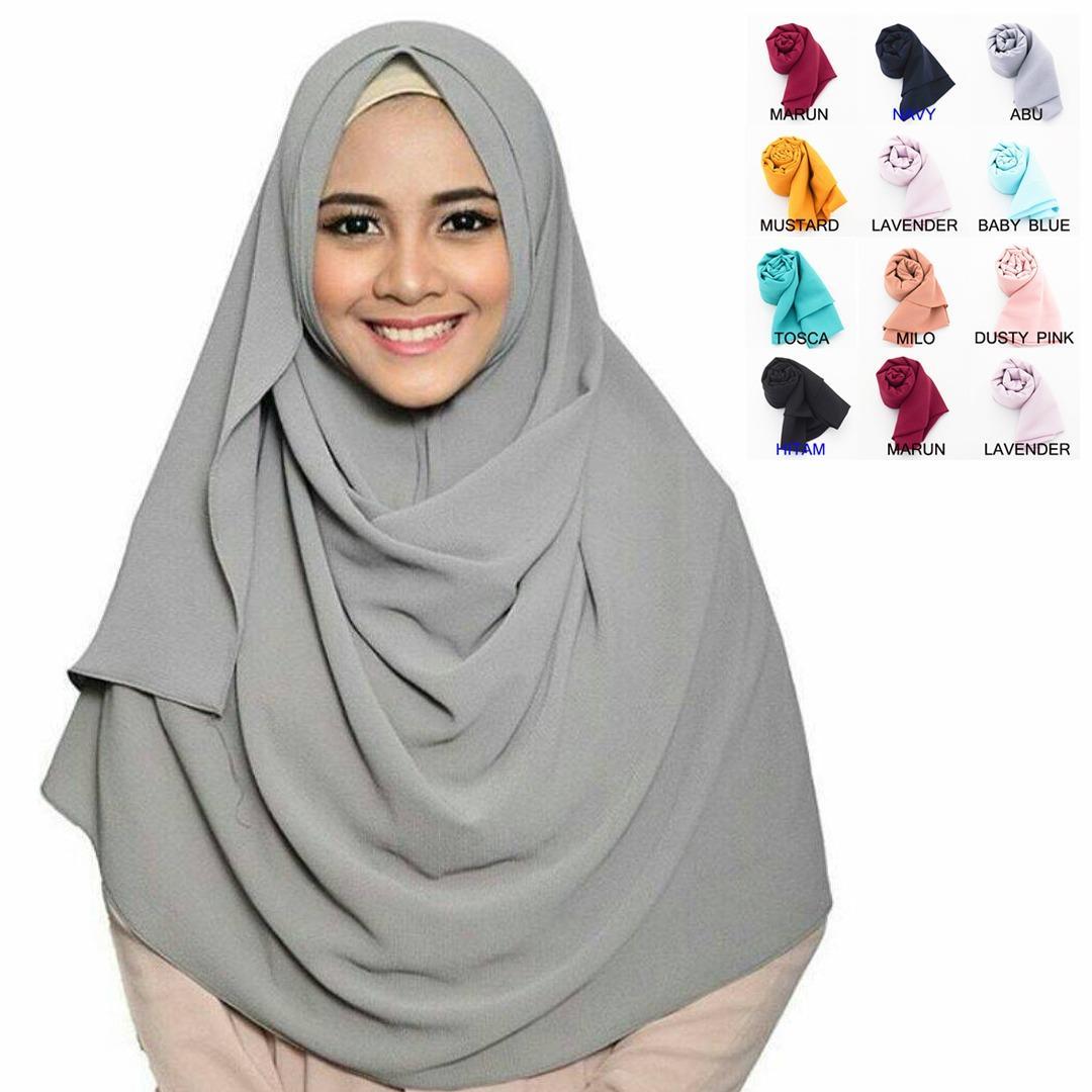 Loveme Hijab Instan Pasmina Pastan Jilbab Instan Kerudung Pashmina Polos 2 Layer